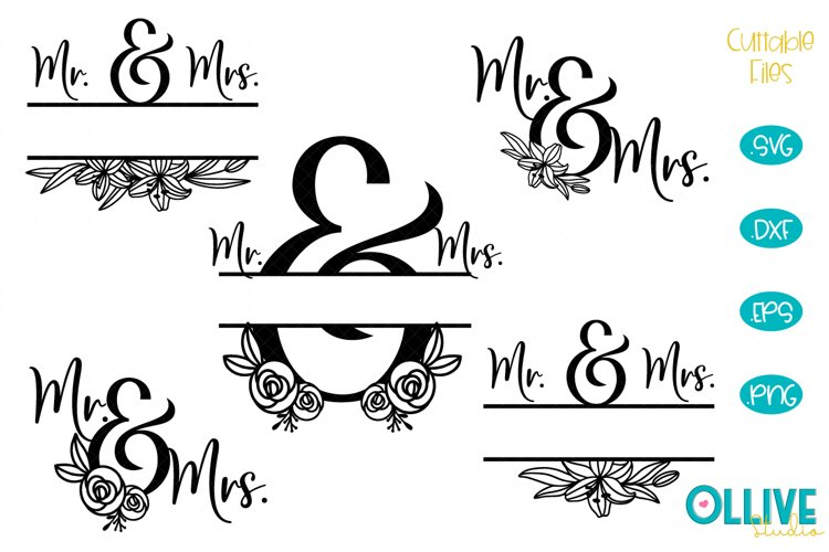 Wedding Mr. & Mrs. Split Monogram SVG Bundle example image 1
