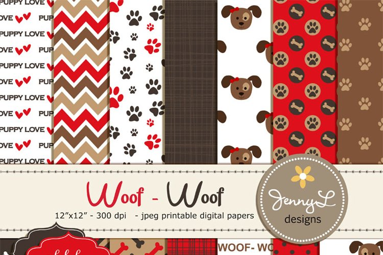 Dog Digital Papers example image 1