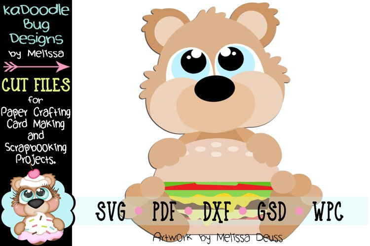 Hamburger Bear Cut File - SVG PDF DXF GSD WPC example image 1