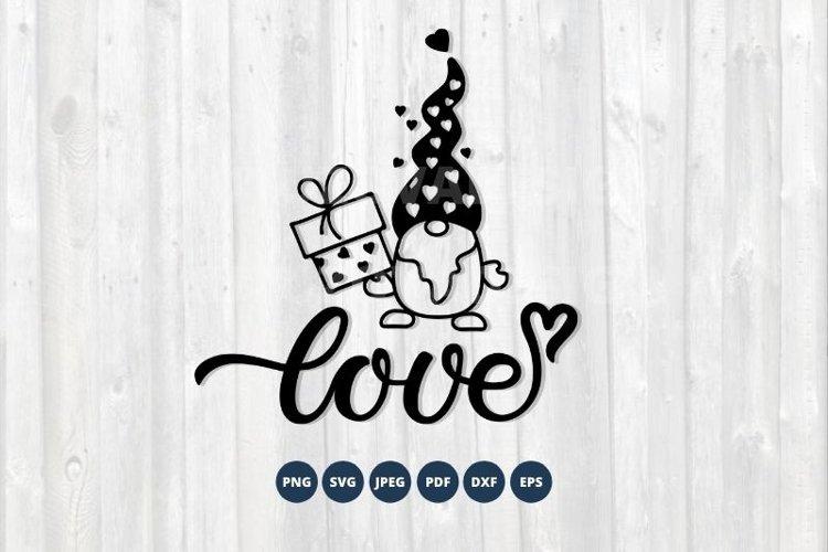 Love Gnome SVG. Valentines Gnome Svg. Love svg, dxf, png