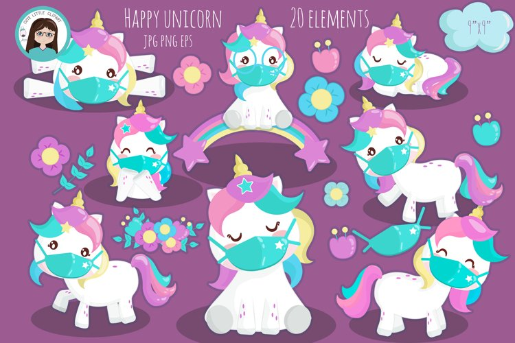 Unicorn with mask kawaii clipart