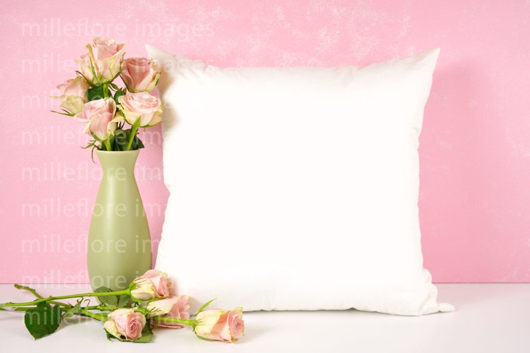 Mothers Day Throw Pillow Mockup. Blush Pink Roses Design.