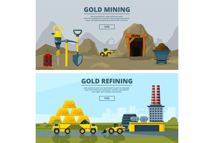 Vector banners set with illustrations of mining industry example image 1