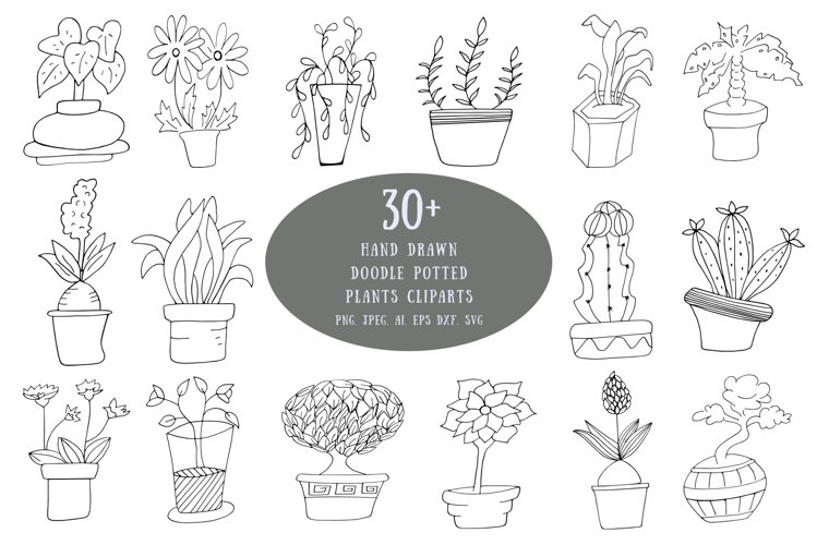 Hand Drawn Doodle Potted Plants Cliparts example image 1