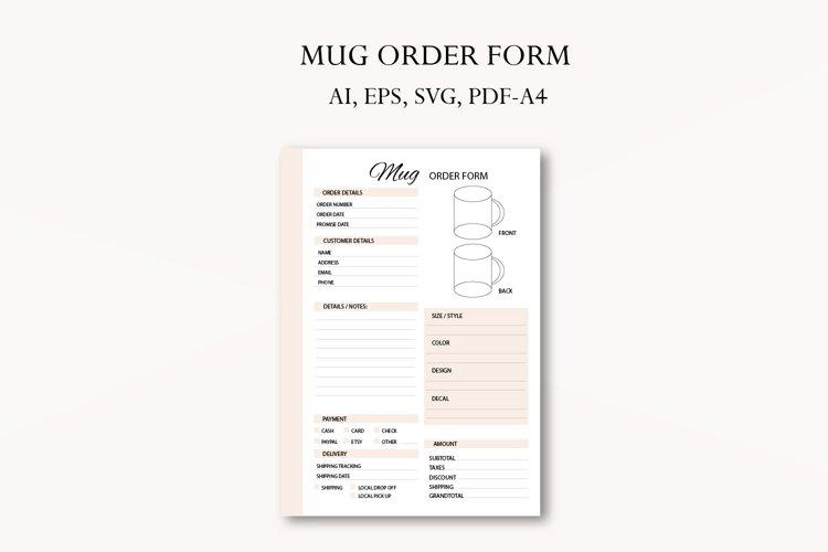 Mug order form, Business planner