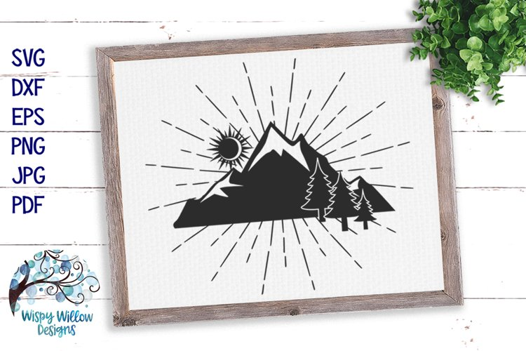 Mountain Silhouette SVG   Outdoors Camping SVG Cut File example image 1
