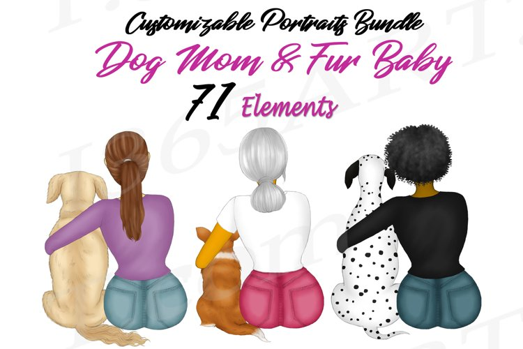 Best Friends Dog Lover Clipart Dog Mom Customizable Set PNG example image 1