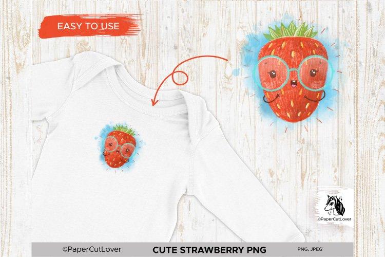 Strawberry PNG Kawaii Fruit Strawberry Sublimation Cartoon example image 1