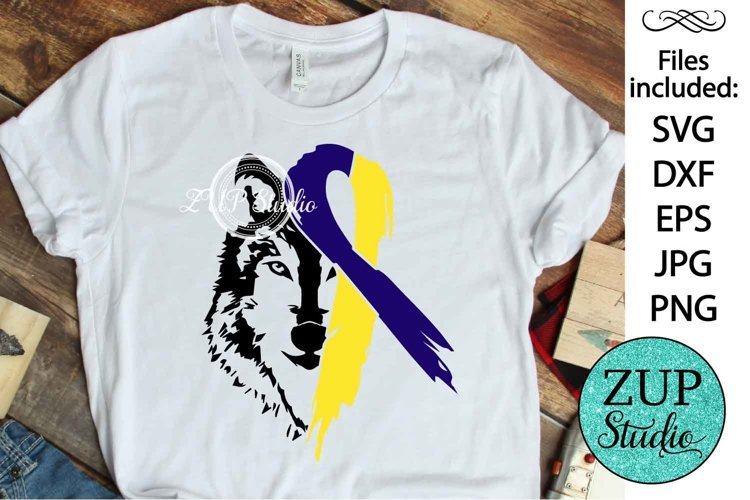 Wolf Face with Down Syndrome Ribbon design 511 example image 1