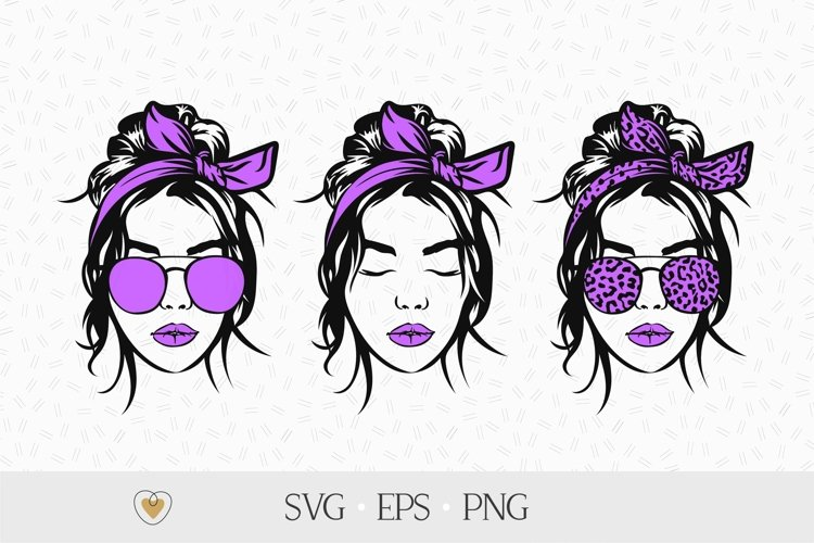 Girl with messy bun and bandana svg, Leopard glasses png