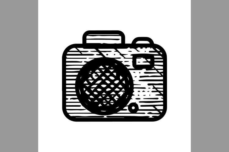 hand drawn camera symbol line icon, Vector Illustration example image 1