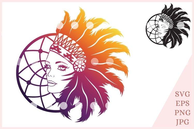 Indian girl svg, Indian Headdress Svg File example image 1