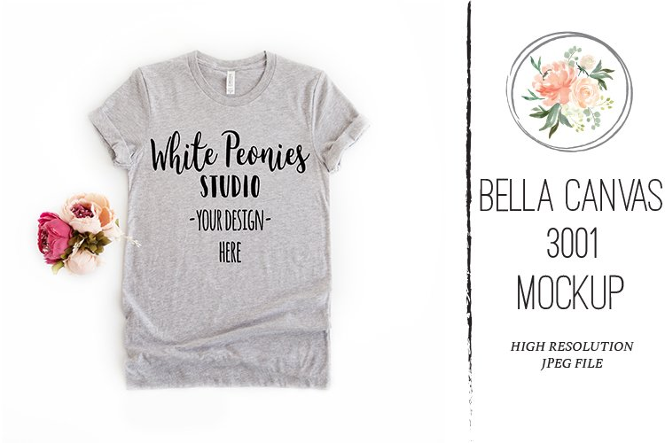 Athletic Heather Bella Canvas 3001 Shirt Mockup Feminine example image 1