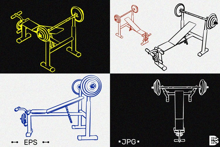 Exercise machine clipart. Vector illustrations