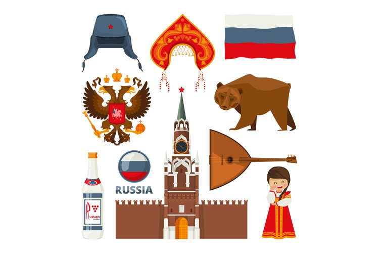 Set of different traditional national symbols of russia mosc example image 1