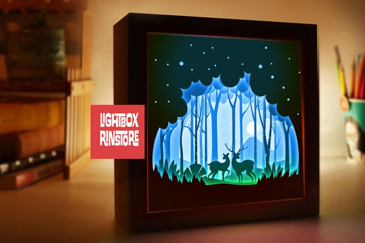 #150 Deer Spirit, 3D Shadow box paper cut lightbox example image 1