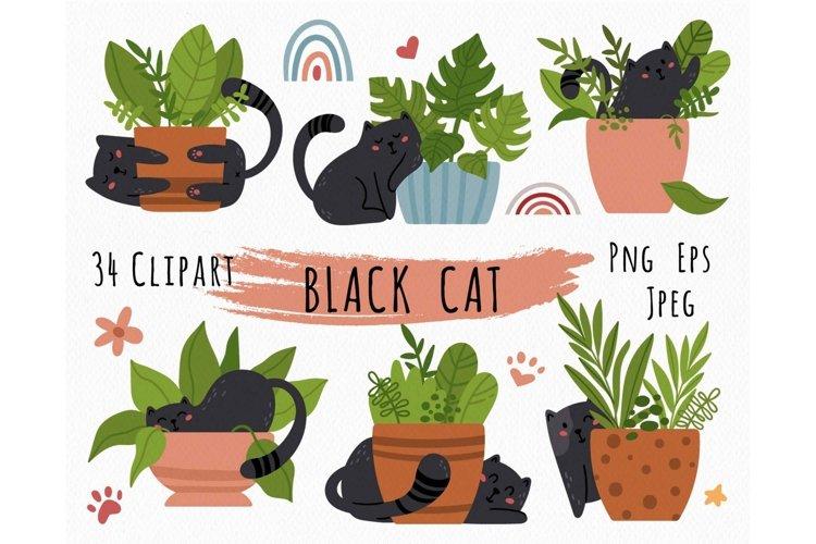 Black cat kids clipart example image 1