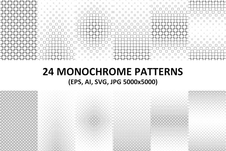 24 Monochrome Vector Square Patterns