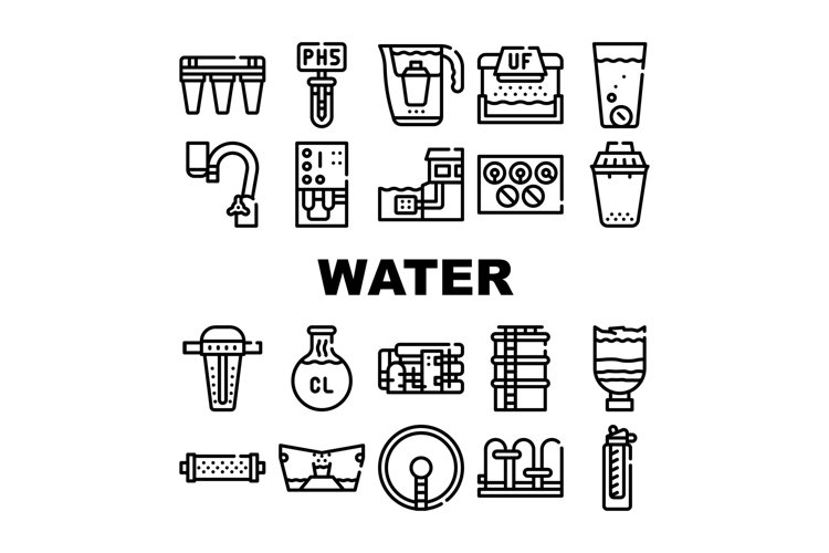 Water Treatment Filter Collection Icons Set Vector example image 1