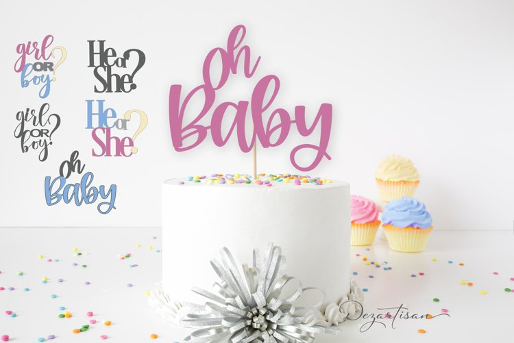Oh Baby! He or She? Girl or Boy Gender Reveal Cake Topper