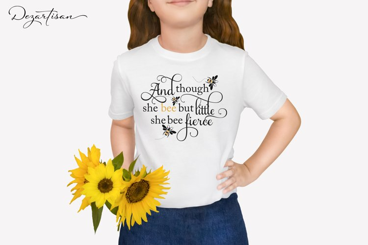 Though she bee little she bee fierce Bumble Bee SVG   DXF example image 1