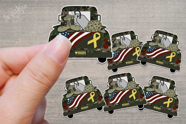 Military Patriotic Vintage Truck Sticker PNG