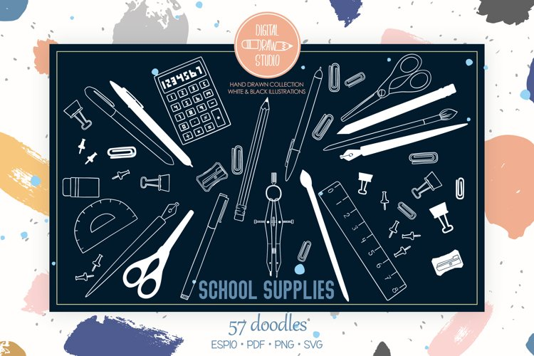 School Supplies White | Hand Drawn Stationary, Office Doodle