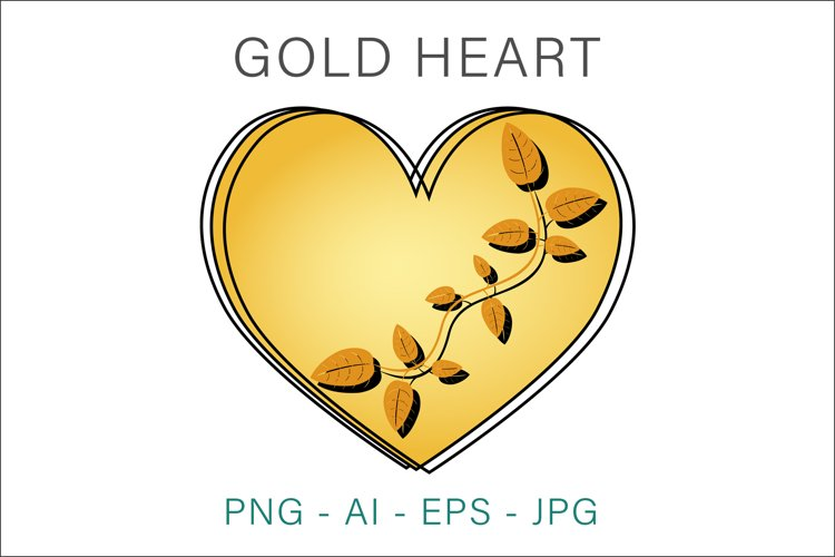 Gold Heart Valentine Vector Clipart