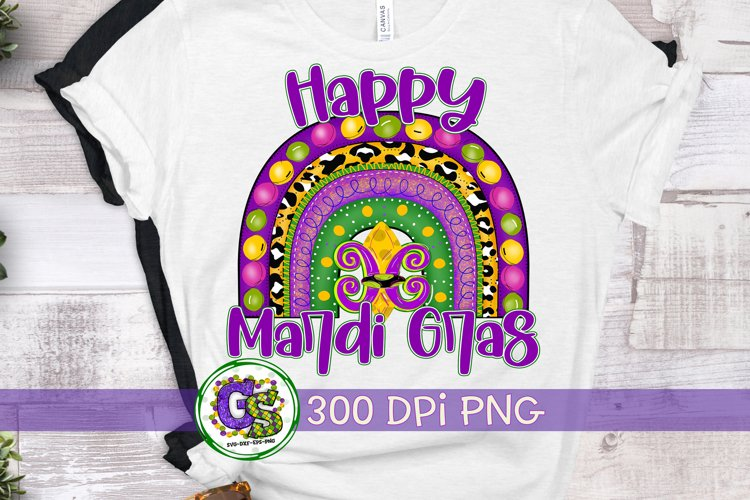 Happy Mardi Gras Rainbow PNG For Sublimation