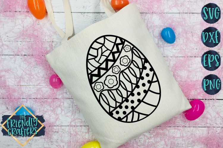 Doodle Egg with Flowers - An Egg Cut File