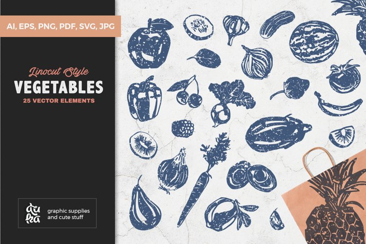 Vegetables SVG Cut Files - Linocut Style Fruits and Veggies