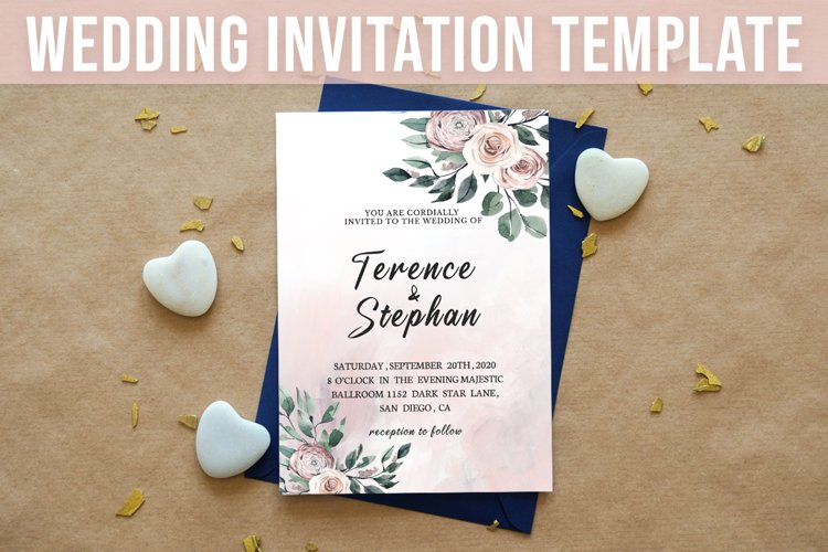 Floral Wedding Invitation Template example image 1