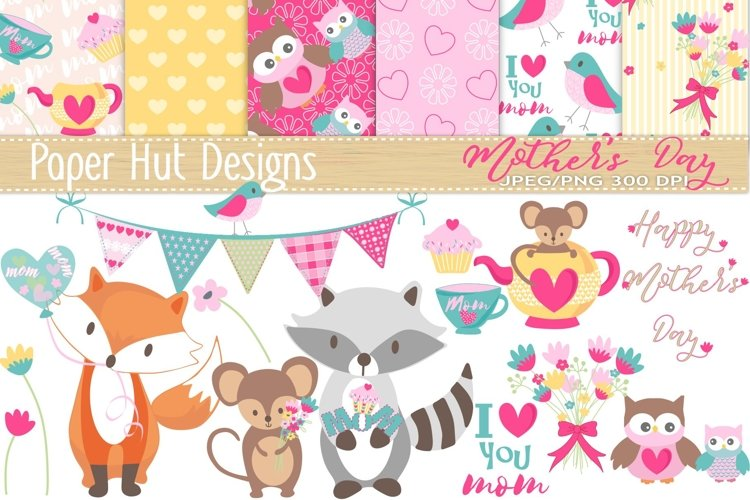 Mothers Day Cute Animal Clipart and Digital Papers Set