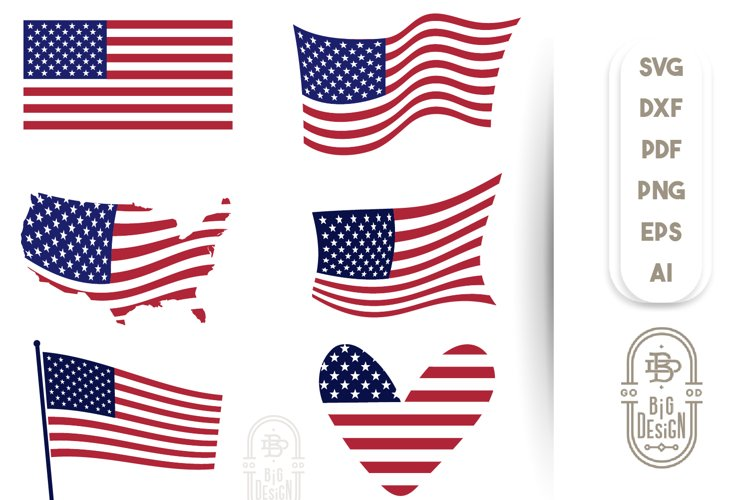 4th of July - Flag of the United States - SVG Bundle example image 1