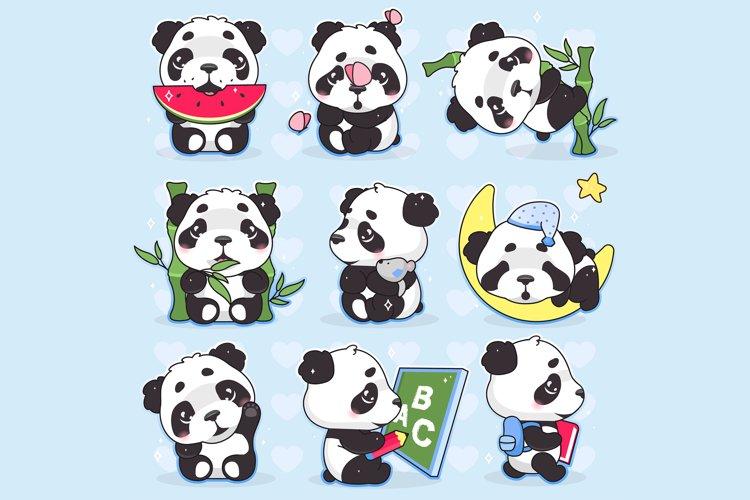 Cute panda kawaii cartoon vector characters set