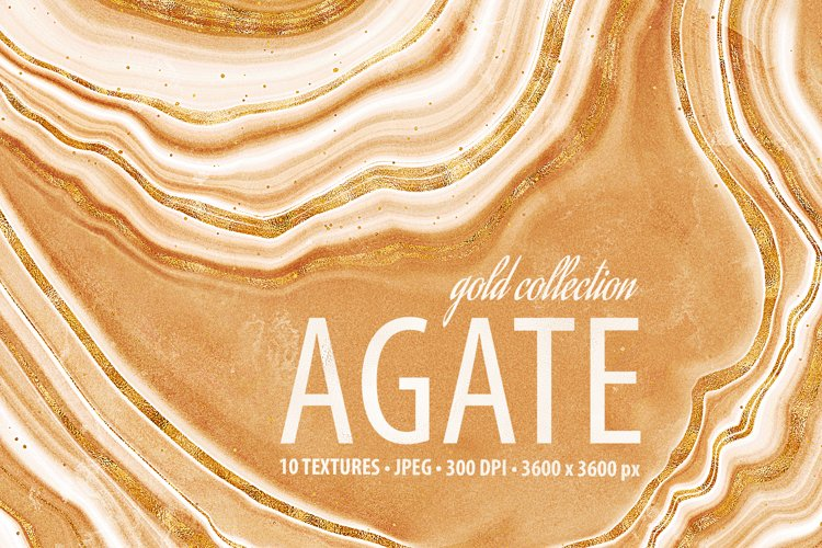 Golden Agate Stone Textures - Agate Digital Papers