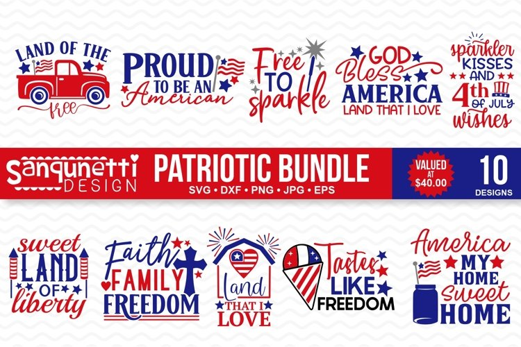 Patriotic and 4th of July SVG Bundle- 10 designs