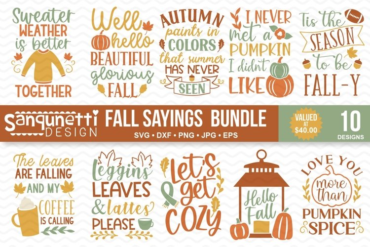 Fall Sayings and Quotes SVG Bundle- 10 designs