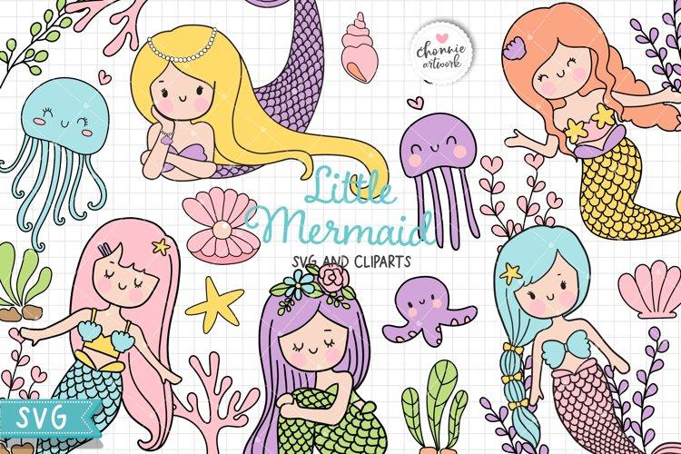 Little Mermaid SVG, Mermaid SVG, Mermaid Clipart, Coral SVG