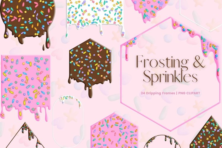 Dripping Frosting Frames with Sprinkles Clipart