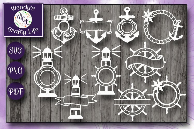 Nautical Monogram Bundle - 10 each in SVG, PNG & PDF format example image 1