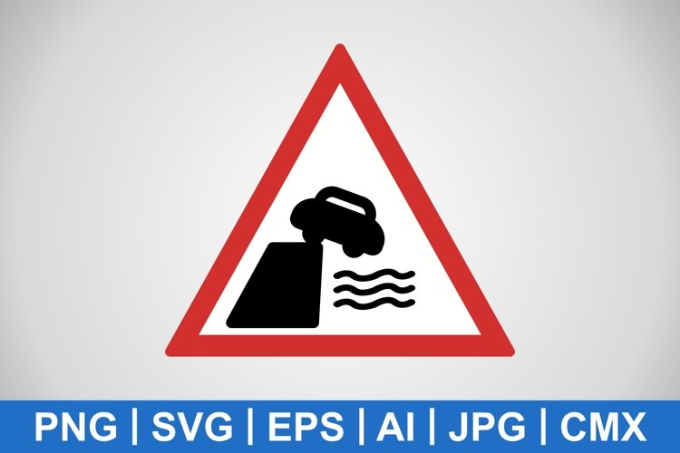 Vector Road Leads on to Quay or River Bank Icon example image 1