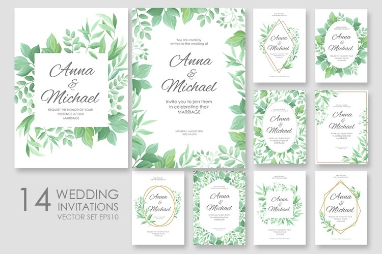 Wedding invitations vector set #2 example image 1