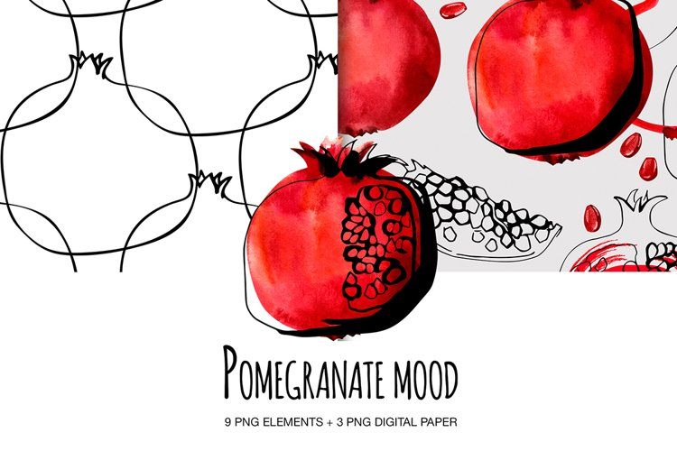 Pomegranate set digital clipart Watecolor and ink.