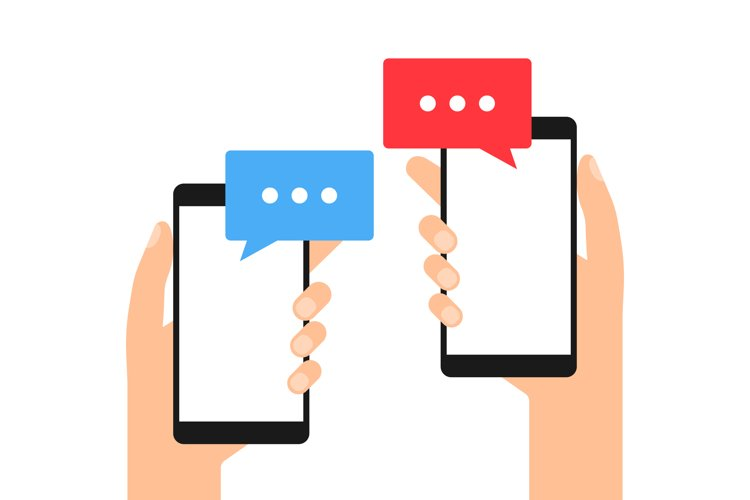 Phones with messages in hands example image 1