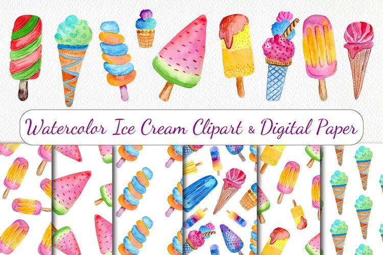 Watercolor Ice Cream Clipart & Seamless Patterns