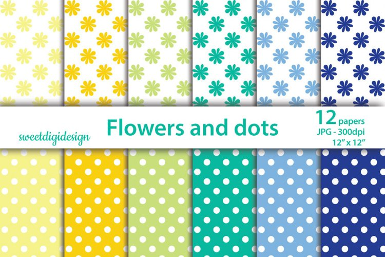 Polka dots and flowers seamless pattern, floral background