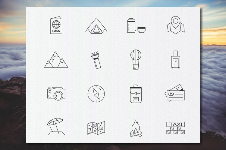 Travel Line Icons Set example 1