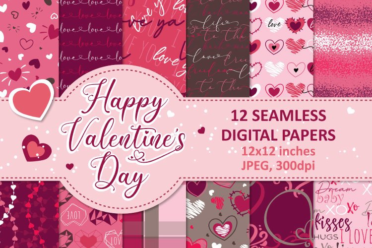 Valentines Day Digital Paper, Valentine Seamless Patterns