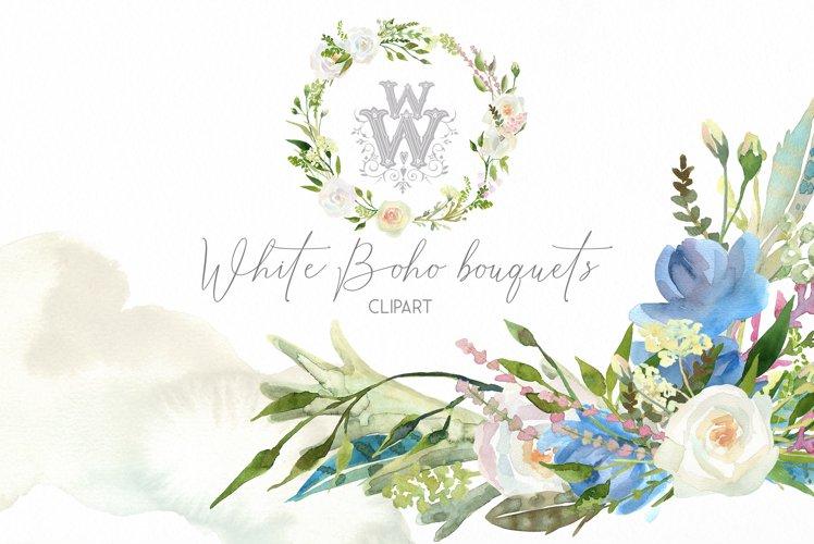 Watercolor floral wedding bouquets, boho compositios wreath